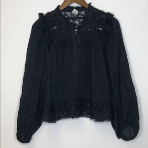 AKEMI + KIN Anthropologie Top Lace Navy Size 8